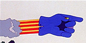 screenshot of the Flying Glove from the  movie , Yellow Submarine